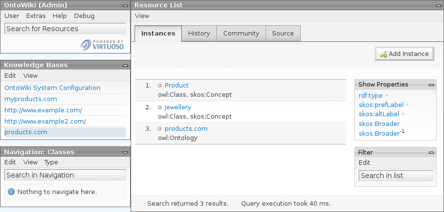 OntoWiki Screenshot with the Jewellery taxonomy resource list